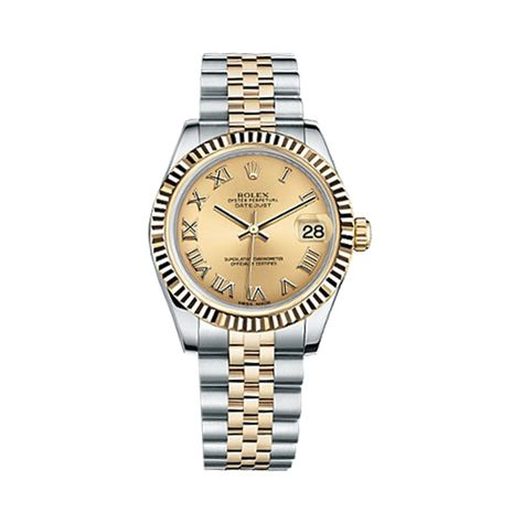 Rolex Datejust 31 178271 Rose Gold & Stainless Steel Watch (Silver Set with Diamonds)