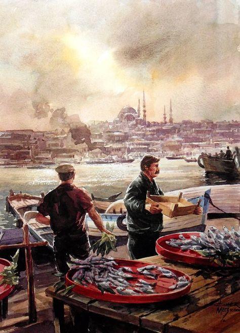 Ömer Muz'dan... Ömer Muz ile suluboya resim çalışmaları Hobi Sanat Merkezi'nde...