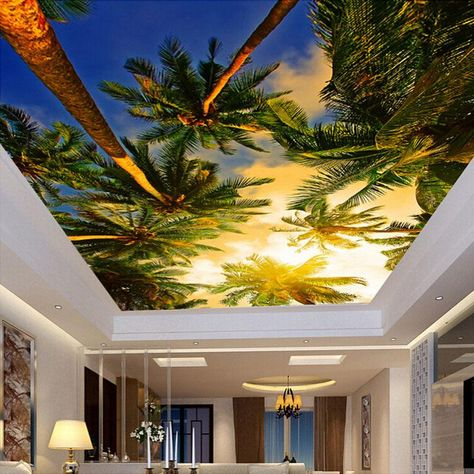Custom Size Wallpaper Sunset Coconut Trees Ceiling Mural (㎡) #wallpaper #wallmurals #wallpaperideas #wallcovering #homeimprovementideas #interiordesignideas #homedesignideas #walldesignideas #ceilingdesign