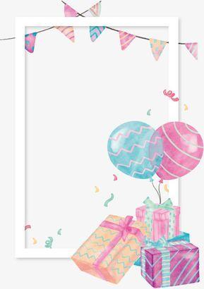 Acuarela Gift Box Balloon Frontera Etiquetas De Cumpleaños