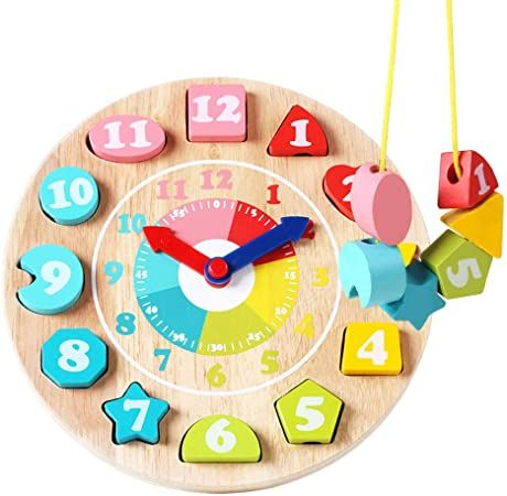 kids baby child Wooden time learning clock teaching early Educational toys Gift