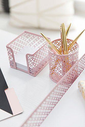 Blu Monaco Office Supplies Pink Desk Accessories For Women 5 Piece Desk Organizer Set Mail Desk Organizer Set Desk Accessories For Women Cute Desk Organization