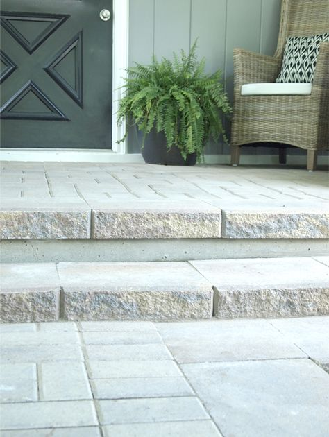Paver Porch Front Porch Steps Concrete Patio Patio