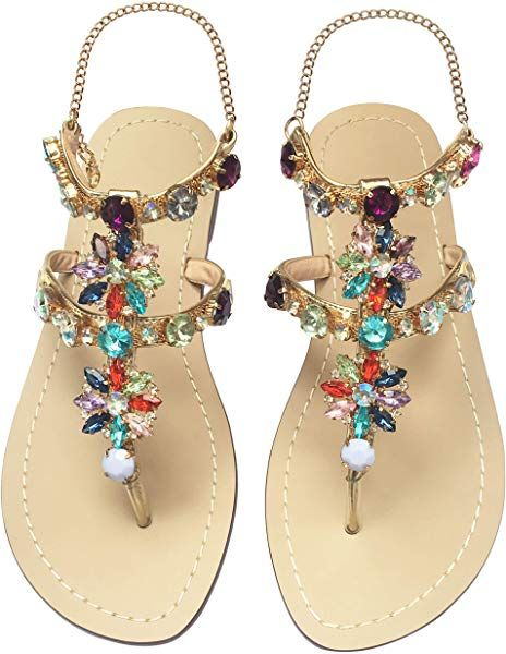 f27dd37996496 Amazon.com | JF shoes Women's Crystal Rhinestone Bohemia Flip Flops ...