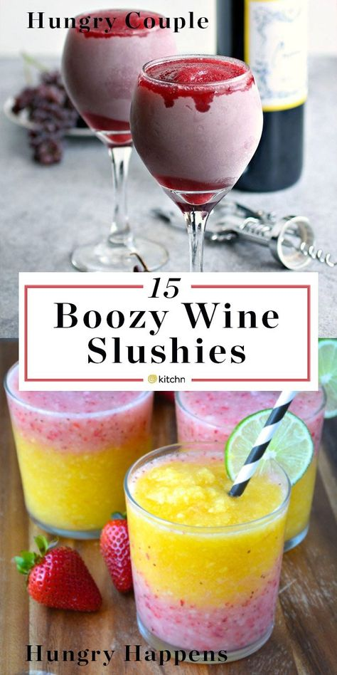 15 Wine Slushies You Need to Drink Outside This Summer 15 Boozy Wine Slushies. There's more to frozen and blended cocktails and pitcher drinks / beverages than Frozé Rosé (aka Froze Rose). Wine Slushie Recipe, Wine Slushies, Pitcher Drinks, Beste Cocktails, Alcohol Drink Recipes, Slushy Alcohol Drinks, Punch Recipes, Alcoholic Drinks With Lemonade, Low Sugar Alcoholic Drinks