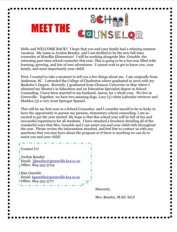School Counseling Brochure, Welcome Back Letter, and Bulletin Board