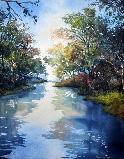 Robert W Cook WATERCOLOR acquerello river fiume realism Woods trees alberi bosco