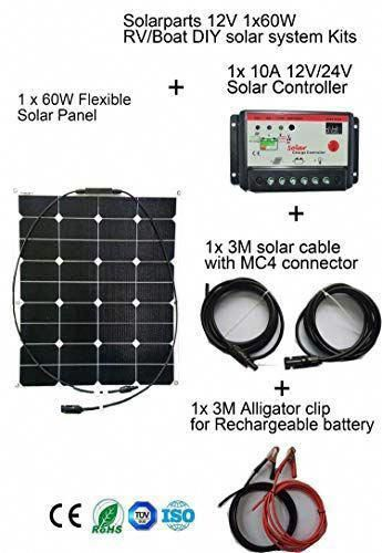 60 Watt Portable Solar Panel Charger Etfe Flexible System Diy Kit 12v Solar Charger With Solar Controlle In 2020 Flexible Solar Panels Solar Panel Charger Solar Panels