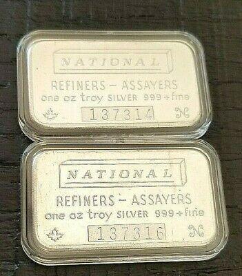 2 1 Oz National Refiners Assayers Maple Leaf Silver Bar 999 Vintage Flat Back Silver Bars Vintage Flats Branded Mints