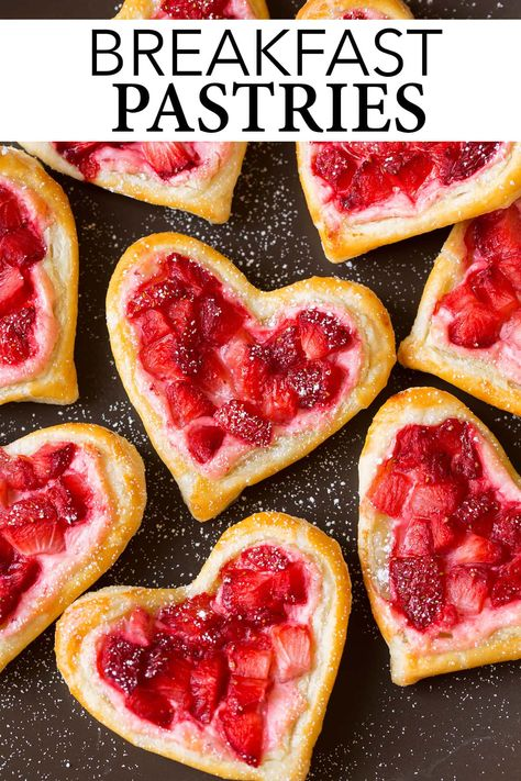 Heart-Shaped Strawberry Cream Cheese Breakfast Pastries - pretty and delicious! Love that flaky puff pastry with the strawberry cream cheese! Valentines Day Food, Valentines Breakfast, Valentines Day Desserts, Valentine Treats, Valentine Decorations, Funny Valentine, Vintage Valentines, Tasty Pastry, Pastry Cook