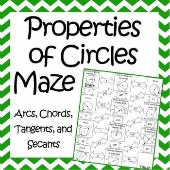 Properties of Circles Maze ~ Arcs, Tangents, Secants, & Inscribed