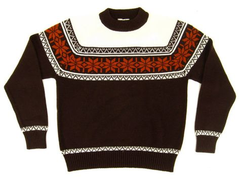 Vintage Fair Isle Sweater - Nordic, Pullover, Brown, White, Orange ...