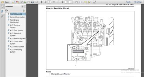 Isuzu Au 4le2 Bv 4le2 Series Diesel Engine Service Repair Workshop Manual Diesel Diesel Engine Repair