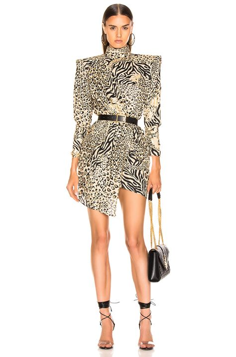 Image 1 of Dundas Gilded Leopard Print Dress in Leopard & Gold