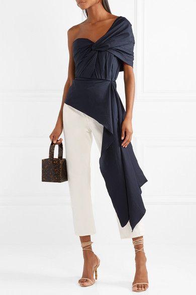 Johanna Ortiz   The Art of Dancing one-shoulder knotted cotton-blend poplin top   NET-A-PORTER.COM