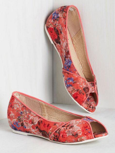 Lace Peep-Toe Flats