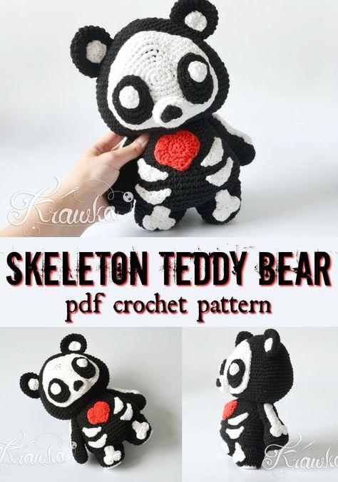 Cute & Creepy Crocheted Creatures Adorable skeleton teddy bear crochet am… Crochet Pattern Free, Crochet Teddy Bear Pattern, Crochet Bear, Cute Crochet, Crochet Animals, Crochet Crafts, Crochet Dolls, Yarn Crafts, Crochet Projects