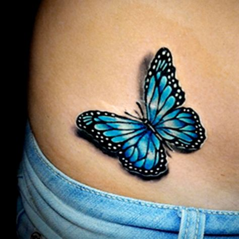 Realistic Colour Butterfly Tattoo Done By Brandon Marques