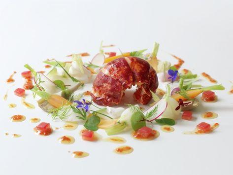 "Credit: Restaurant Gordon Ramsay. ""Poached Scottish lobster tail with lardo di colonnata, vegetables à la grecque and coral vinaigrette"""