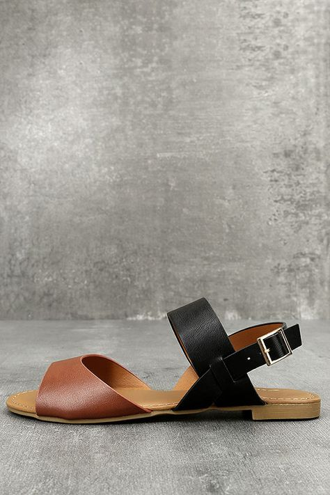 Perfect Attendance Tan and Black Flat Sandals | Tan leather
