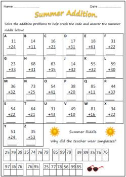 Summer Addition Addition And Subtraction Worksheets Subtraction Worksheets Addition And Subtraction