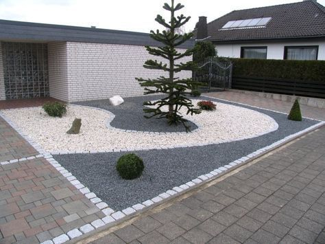 Front Garden Design With Grit And Granite Garden Sculpture Garden Design Gravel Garden Courtyard Design