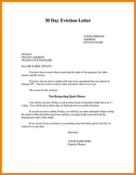 eviction letter samples template photo sample notice quit images - eviction letter to tenant