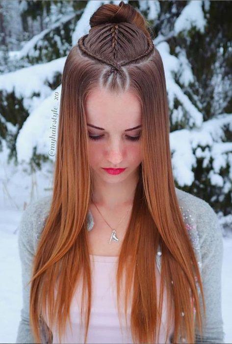 kind of braid is suitable for girls with medium and long hair and clavicular hair braid concave shape is really good-looking. and medium length hair hair style hair designs hair art braided hair ideas Twist Hairstyles, Summer Hairstyles, Cool Hairstyles, Updo Hairstyle, Vintage Hairstyles, Wedding Hairstyles, French Twist Hair, Hair Hacks, Hair Lengths