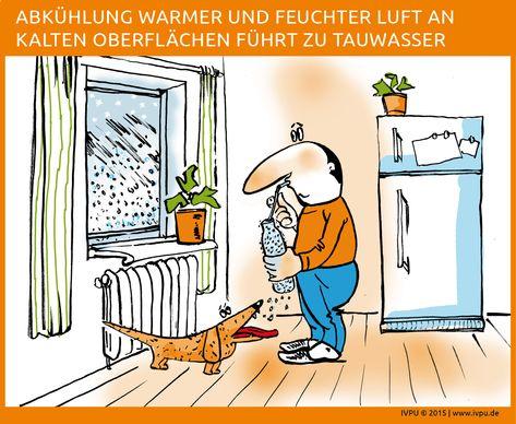 Tauwasser – Warme Luft kann viel Feuchtigkeit aufnehmen, kalte Luft wenig. Wenn warme, feuchte Luft auf kalte Oberflächen trifft und sich abkühlt, bilden sich kleine Wassertröpfchen und es entsteht Tauwasser, auch Kondensat oder Kondenswasser genannt. Energiewende, Wärmewende, Sanieren, Renovieren, Bauen, Altbau, Dach, Wand, Dämmung, EnEV, Energieberatung, Fassade, Wärmedämmung, PU, Polyurethan, Dämmstoff, Dachsanierung, Bauphysik, IVPU, PUonline