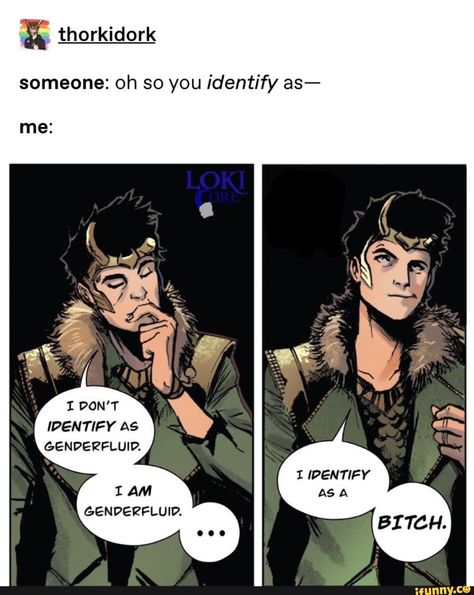 I love Loki so much ~ ❤️🧡💛💚💙💜 ' ' ' Credit/Found On: See Picture (If you are the owner and want this taken down, please tell me and I will) ' ' ' ' ' Marvel Funny, Marvel Memes, Marvel Comics, Loki Marvel, Loki Thor, Loki Laufeyson, Lgbt Memes, Funny Memes, Hilarious