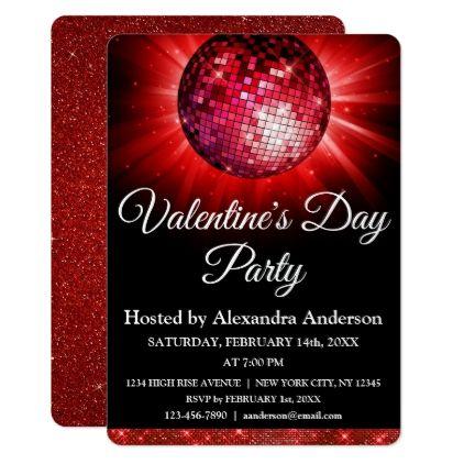 Valentine S Day Party Red Disco Ball Invitation Zazzle Com