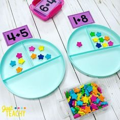 Introducing Addition in Kindergarten Number Bond Plates with Addition Cards - Kids&Baby Toys Teaching Numbers, Numbers Kindergarten, Kindergarten Lessons, Kindergarten Classroom, Fun Math, Teaching Math, Math Activities, Preschool Activities, Kindergarten Addition