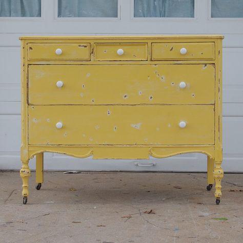 vintage shabby yellow dresser