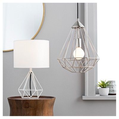 Diamond Wire Table Lamp Painted Base White Threshold Geometric Table Lamp White Table Lamp Mirror Wall Decor