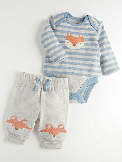 428757e6794 Mini Stitch Grey Bodysuit Fox Top and Joggers Outfit | Baby | George ...