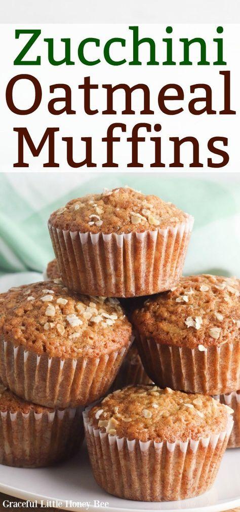 Zucchini Muffin Recipes, Zuchinni Recipes, Zucchini Muffins, Oatmeal Muffins, Breakfast Muffins, Oatmeal Cupcakes, Mini Muffins, Quinoa, Healthy Muffins