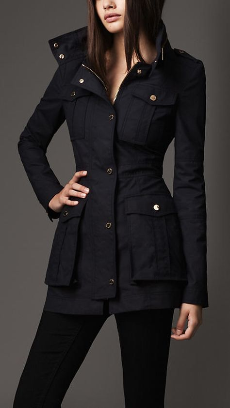 burberry cotton pocket detail jacket in navy