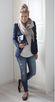 I love the blazer with the distressed jeans. I don't like the big emblem on the shoes