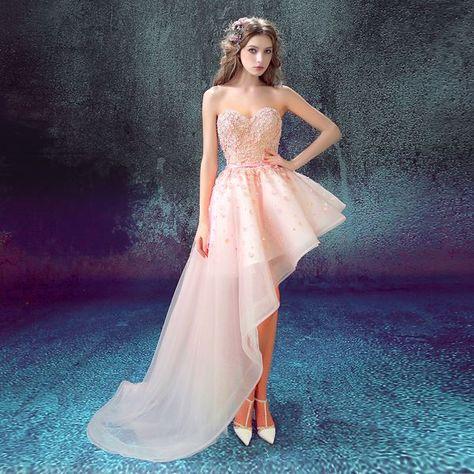 40102bd8dc Nueva Sexy Vestidos de Novia Banquete Rosa Del Amor Del Cordón Flores Corto  frente Espalda Larga Cola Vestido de Fiesta Más Tamaño Vestido de Fiesta  madre
