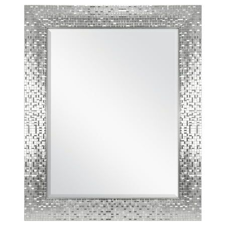 Better Homes Gardens Silver Glam Mosaic Tile Wall Mirror Walmart Com Mosaic Tile Mirror Mirror Tiles Silver Tile