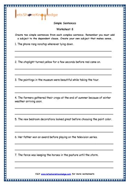 Grade 4 English Resources Printable Worksheets Topic Simple Compound And Complex Complex Sentences Worksheets Complex Sentences Printable English Worksheets Four kinds of sentences worksheets