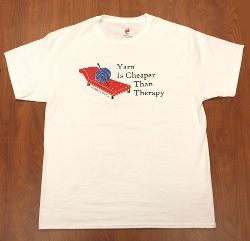 "AllFreeCrochet T-Shirt Giveaway - Enter to win a ""yarn therapy"" t-shirt in any size you wish."