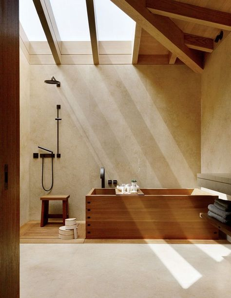 Japanese Influenced Interiors – A World Of Inspiration (The Design Files) Modern Japanese Interior, Japanese Style House, Japanese Interior Design, Japanese Home Decor, Interior Modern, Home Interior Design, Interior Architecture, Japan Interior, Japanese Bath House