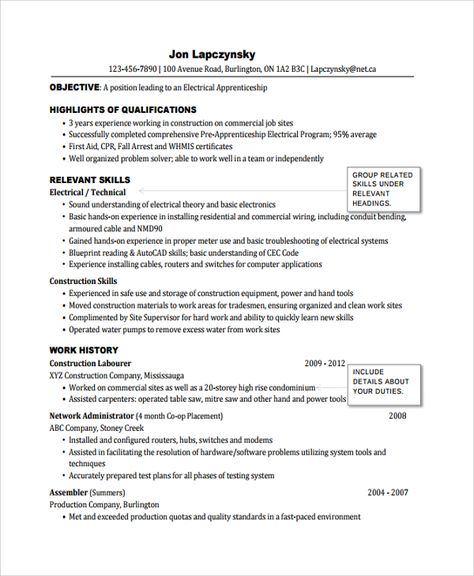 sample electrician resume template free documents download pdf - construction skills resume