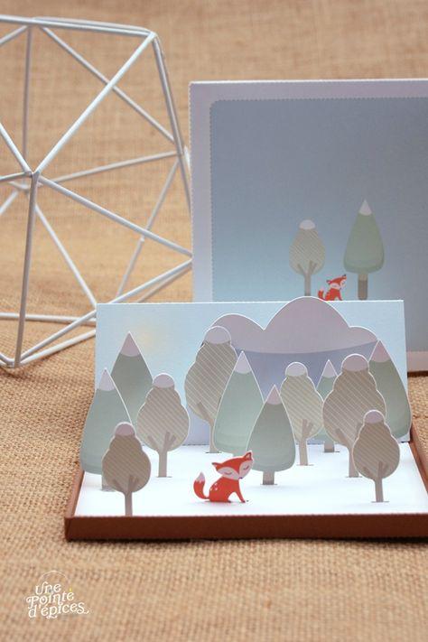 Carte 3D papercut Renard 017 http://unepointedepices.canalblog.com/