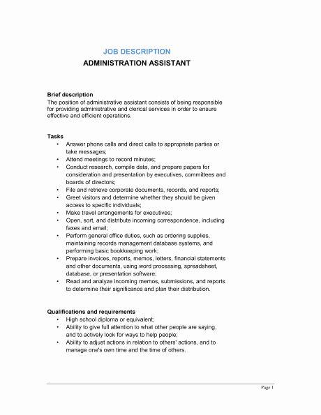 Concierge Job Description Resume Awesome Administrative Assi In 2020 Office Assistant Job Description Job Description Template Administrative Assistant Job Description