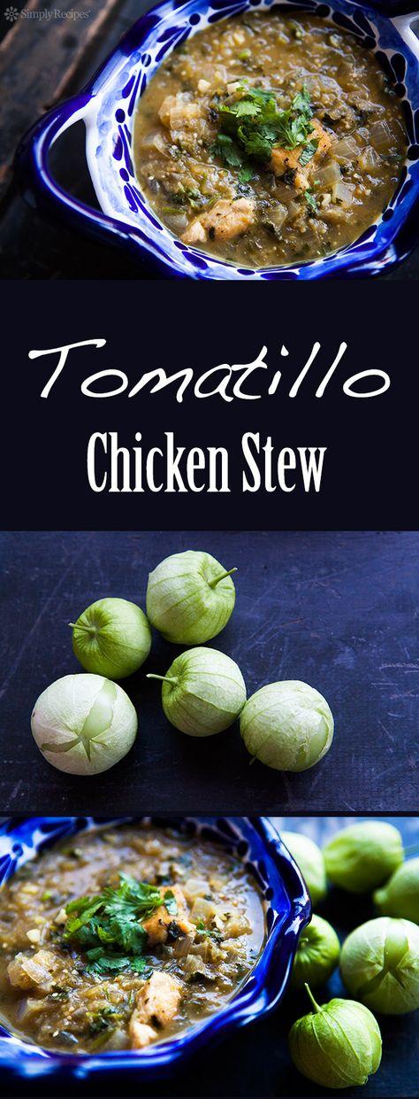 Tomatillo Chicken Stew ~ Spicy chicken stew with tomatillos, jalapenos, onions, garlic, cumin, oregano, and cilantro. ~ SimplyRecipes.com