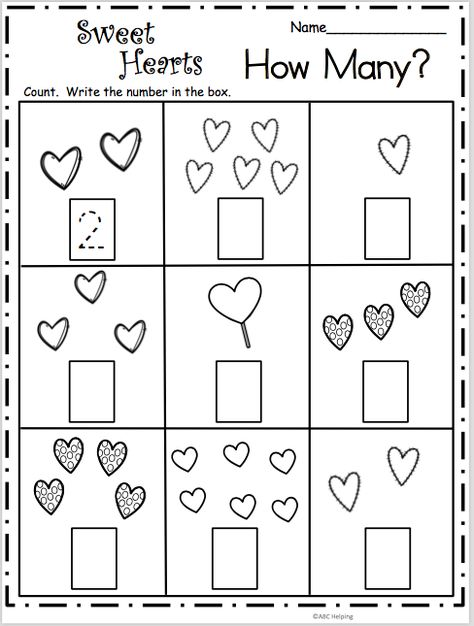 Count How Many - Sweet Hearts Math Free Valentine's Day math worksheet. Count and write the number of hearts in each box. Students practice the numbers from 1 to Free Math Worksheets, Kindergarten Worksheets, In Kindergarten, Geometry Worksheets, Letter Worksheets, Preschool Classroom, Preschool Learning, Preschool Activities, Teaching
