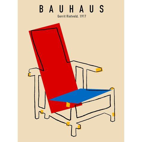 Bauhaus Beach Chair Poster Gerrit Rietveld, Digital Art