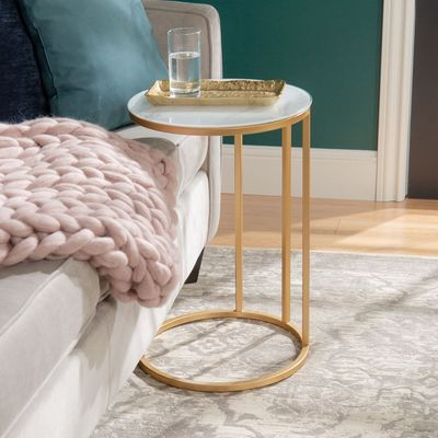 Round Faux Marble Gold C Table C Table Living Room Side Table Marble Side Tables C side tables living room